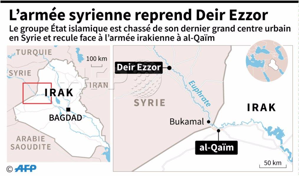 Sous pression en Irak et en Syrie, l'EI perd Deir Ezzor https://t.co/5WJ5MvWTRU #AFP