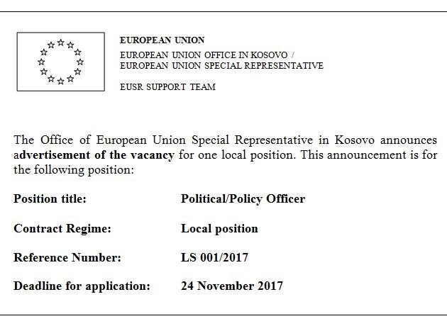 Europeanunion Kosovo On Twitter Job Opportunity At The Office Of