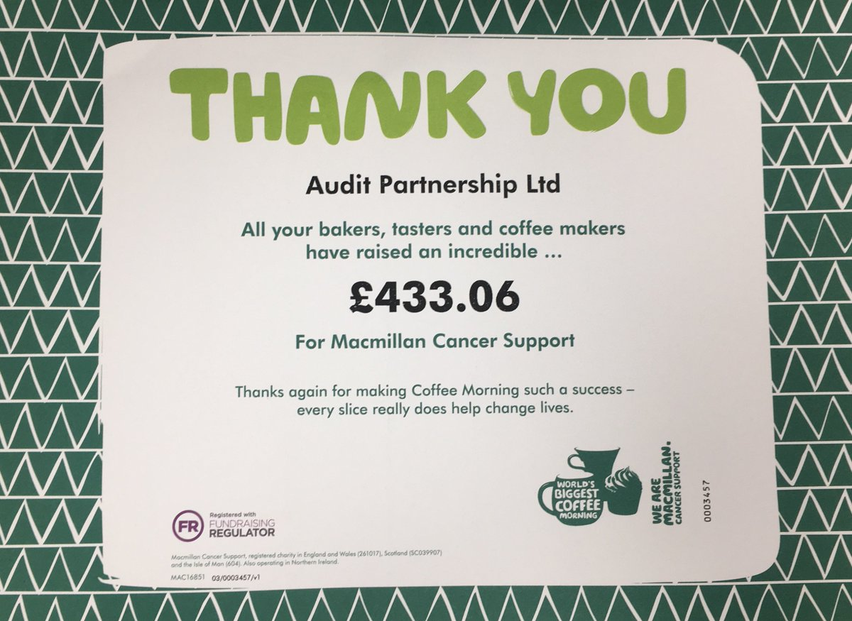 Audit Partnership On Twitter Thank You Macmillancancer For Our