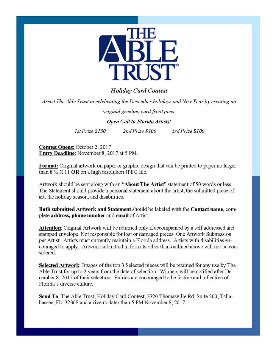 The able trust calling all florida artists abletrust the able trust calling all florida artists abletrust 2017 holiday card contest deadline is nov 8 submit your entry today m4hsunfo