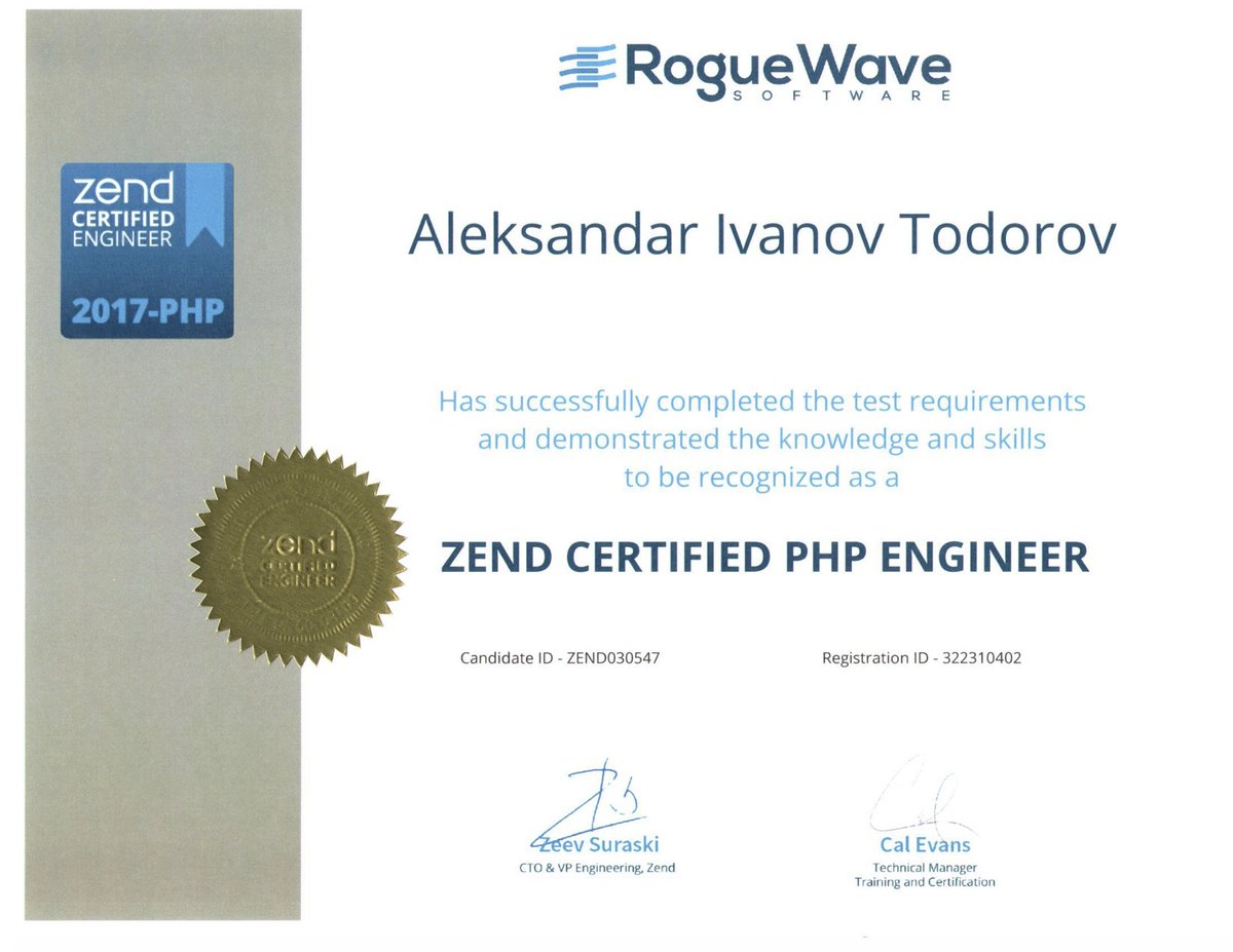 Alexander Todorov On Twitter Im A Zce Php Zend Zce Php7