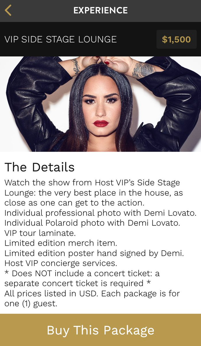 Demi Lovato News On Twitter Demi Lovato Vip Information The Vip Side Stage Lounge Package Is Usd