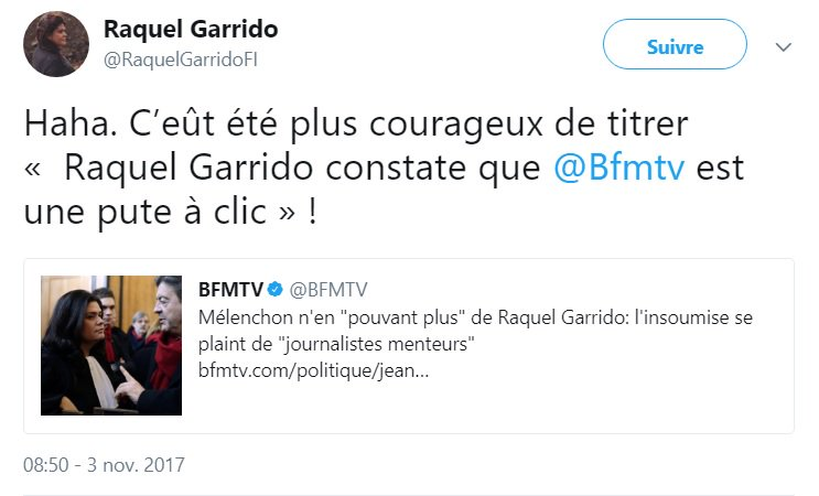 #RaquelGarrido #DonaldTrump #CNN #BFMTV #LaFranceInsoumise French politician says a #TV channel is a #whore @RevueLeBanquet<br>http://pic.twitter.com/2J6y9Ijqgc