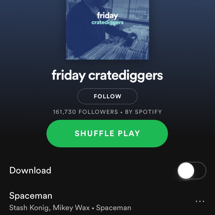 Huge thanks to @austinkramer for adding #Spaceman ft. @MikeyWax to the @spotify #fridaycratediggers playlist! 🙏🙏🙏 @spotifyartists