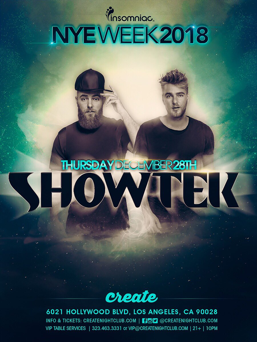 Just Announced!  @SHOWTEK kicks off #CreateNYEWeek2018 December 28th!  Tickets on Sale Wednesday! 🔥 https://t.co/Qx0KxqdbEZ