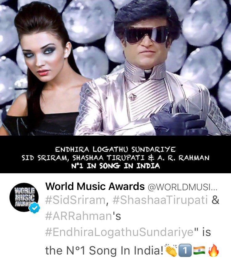 #EndhiraLogathuSundari is #1 song in India. (Via : @WORLDMUSICAWARD) @arrahman @shankarshanmugh @superstarrajini @sidsriram @sashasublime