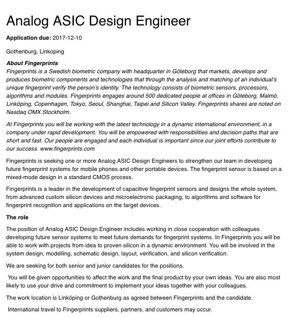 Phuur On Twitter Fingerprint Cards Analog Asic Design Engineer No1biometrics Https T Co G9rhx0qj92