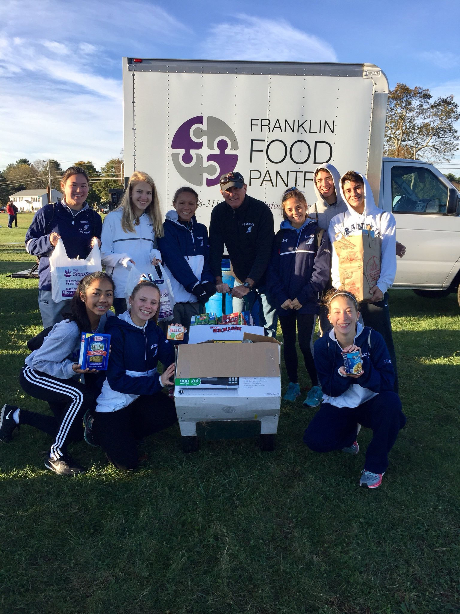 FranklinAthletics‏ @FHSSports  Nov 4 Our Girls & Boys XC teams participated in a food drive at the MSTCA MOONEY MEET. #GivingBack #Community