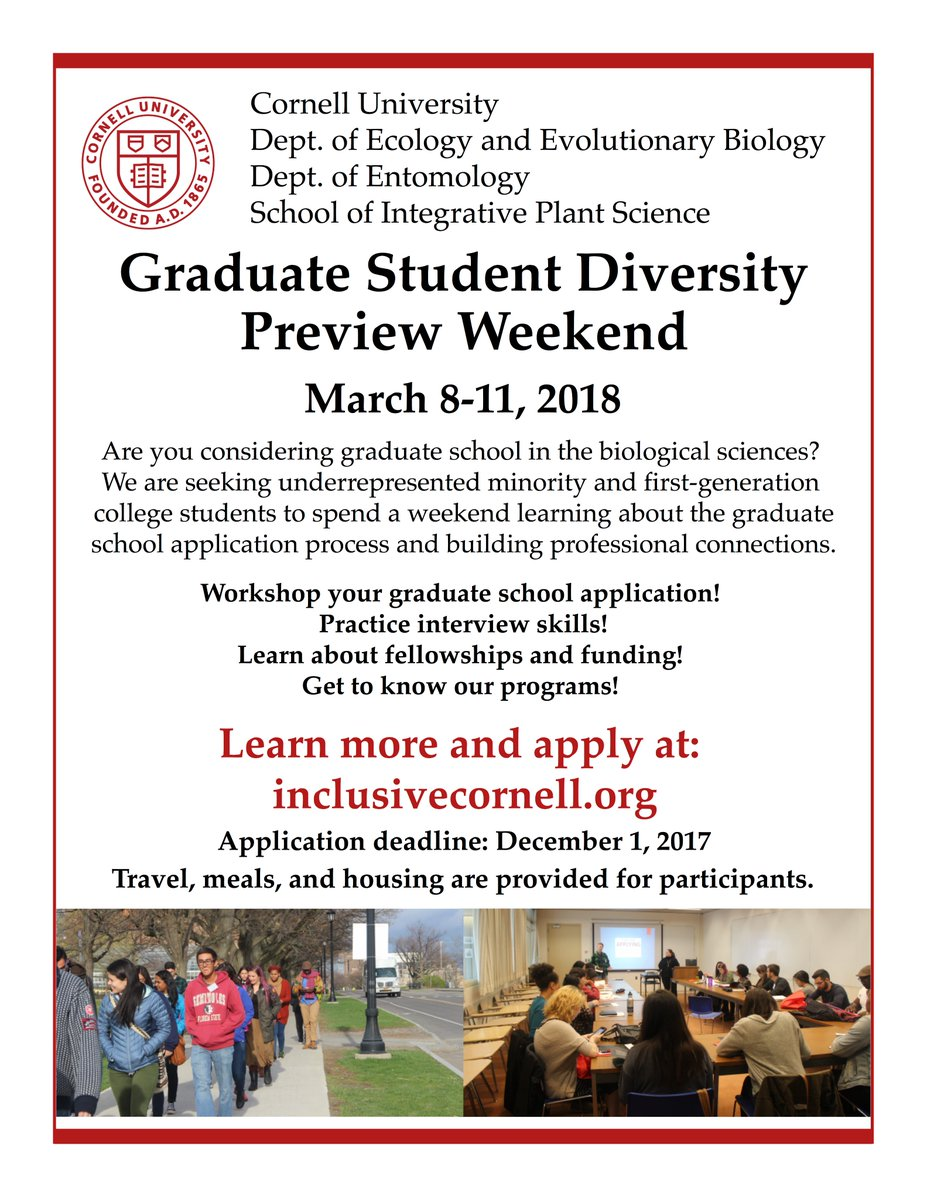Are you a #URM or #firstgen student (or inhabit another axis of diversity)? Apply 4 @Cornell_DPW by Dec 1!! inclusivecornell.org #DPW2018