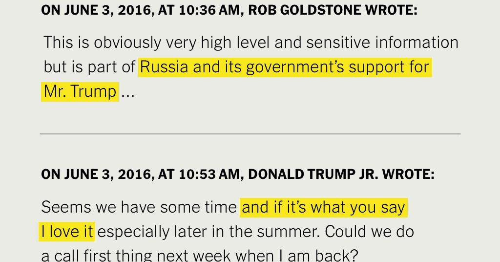 #nytimes: #Russian #Dirt on #Clinton? 'I #Love #It,' #Donald #Trump #Jr. #Said  http:// nyti.ms/2zffo58    pic.twitter.com/lONgX3T7Kc