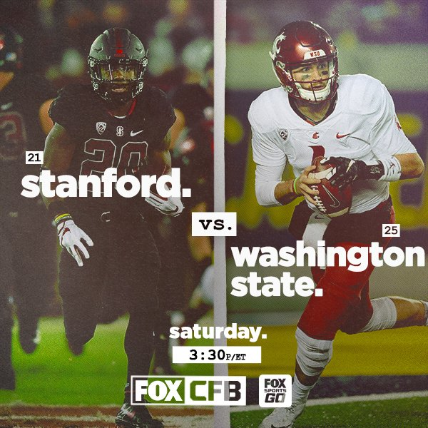 Cougars. Stanford at Wazzu starts on FOX Business Network   FS Go at 3 30  pm et. Game moves to FOX after Penn St vs Michigan St.pic.twitter .com 5CKd2xU02r 80eae52a2