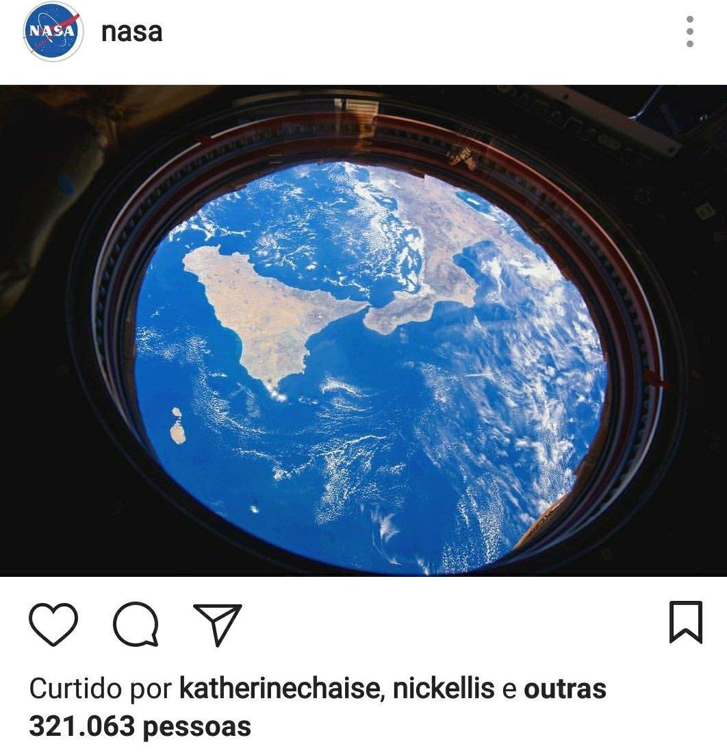 A Terra é Plana, confirmado pela NASA no Instagram.