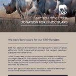 Support ERP in rhino conservation, read more https://t.co/cXVp3RhLr7  #ERP #ElephantsRhinosPeople #Rhino #Binoculars #ERPRanger