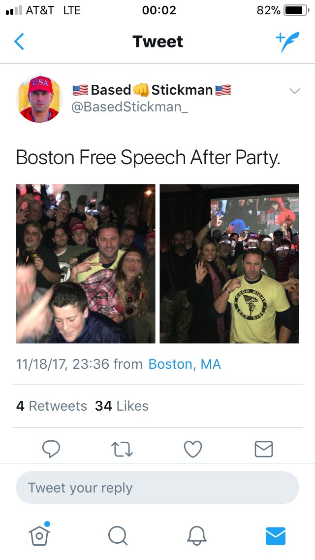 When you're John Medlar of the #BostonFreeSpeech movement & you're claiming that you don't hang w/ the alt-right goons behind #Charlottesville but you're chillin with them at the neo-nazi after party.  #bospoli #bostonresistpic.twitter.com/yfVUiA8gwZ