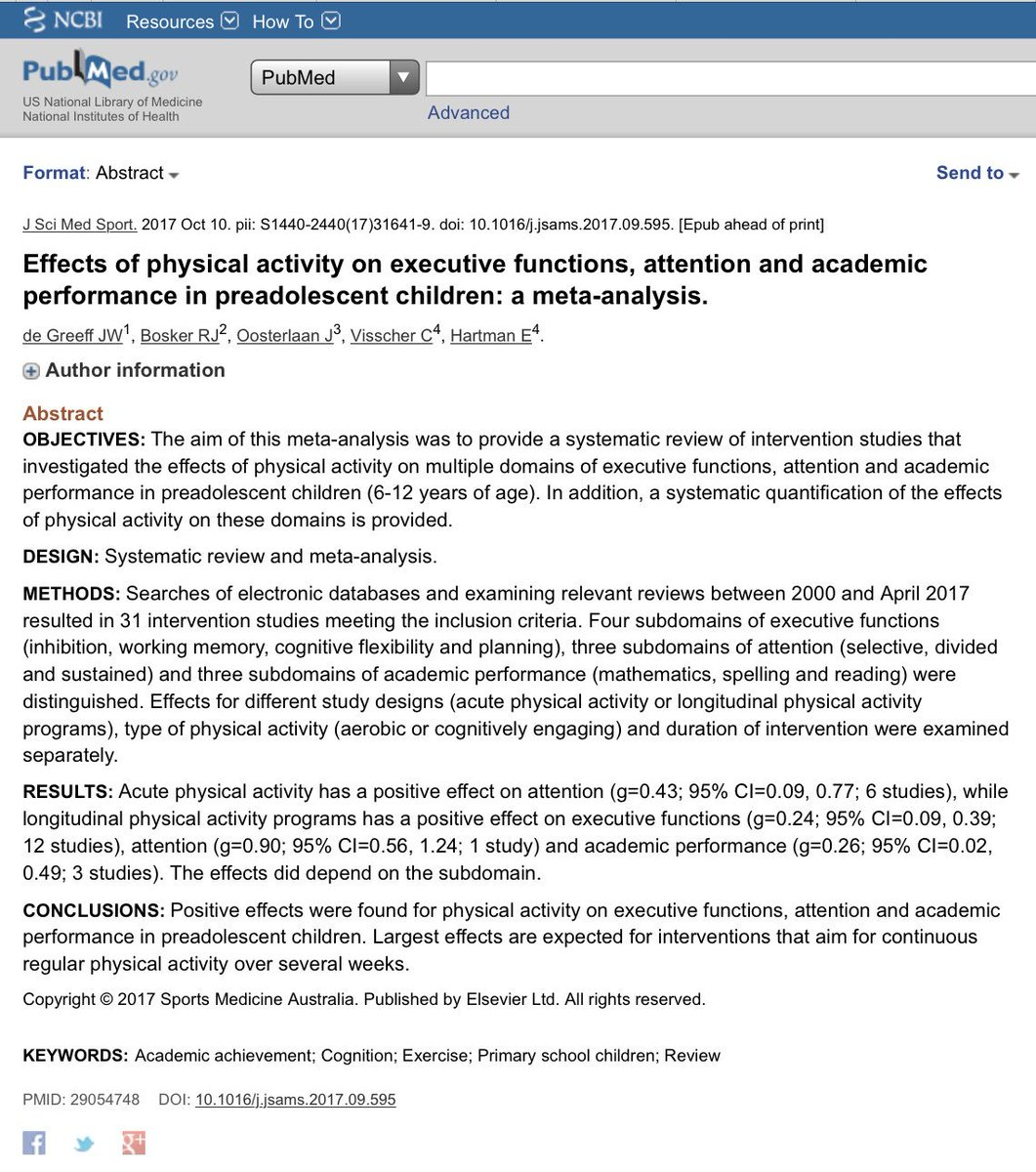 #Physicalactivity may have positive influence on #cognition and academic performance in prepubertal #children. #Meta-Analysis @exerciseworks  https://www. ncbi.nlm.nih.gov/pubmed/29054748  &nbsp;  <br>http://pic.twitter.com/XksGTJpWaD