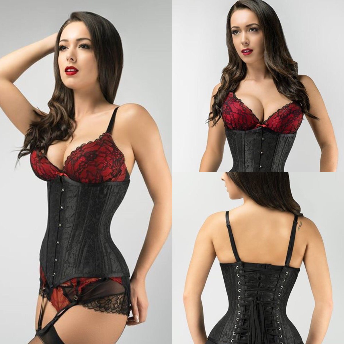 """Brand new in and just $85/£65, this black #ExpertWaistTraining underbust #corset is decorated with a floral #brocade design. 4-5"""" waist reduction. Follow the link to find out more and order. https://t.co/UKyFSydR2Y   #bodyshaping #waisttraining https://t.co/bj8q4cjScA"""