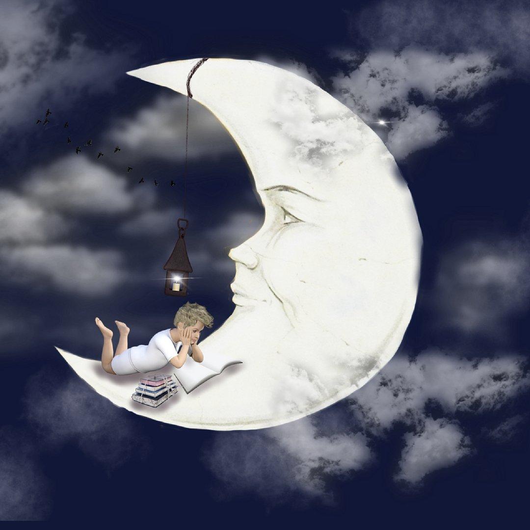 Картинка луна с книгой