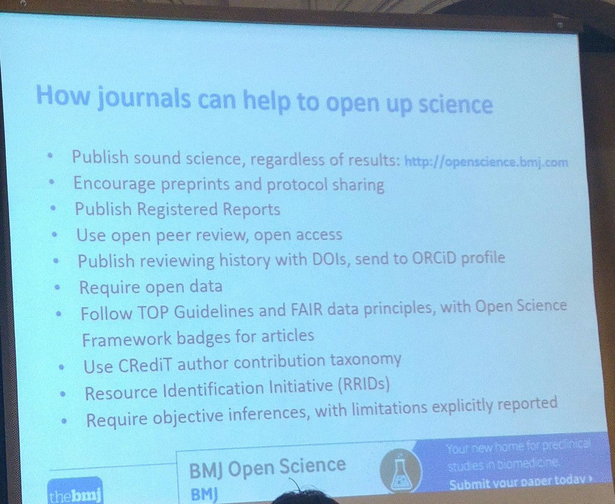 Some great ideas from @trished at the @bmj_latest regarding how journals can support #openscience <br>http://pic.twitter.com/vzDt4OivIa