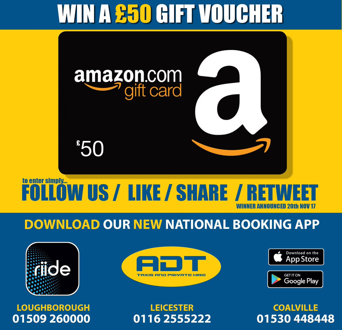 WIN £50 Amazon Gift Vouchers ! How !? Simply FOLLOW our Twitter...  RT &amp;  this tweet and tweet us what you would like to use the £50 gift vouchers for maybe !? What would YOU spend it on ? #win #gift #prize #competition #free #voucher #£50 #enter #taxi #cab #adttaxis #RT<br>http://pic.twitter.com/onSHkBTodx