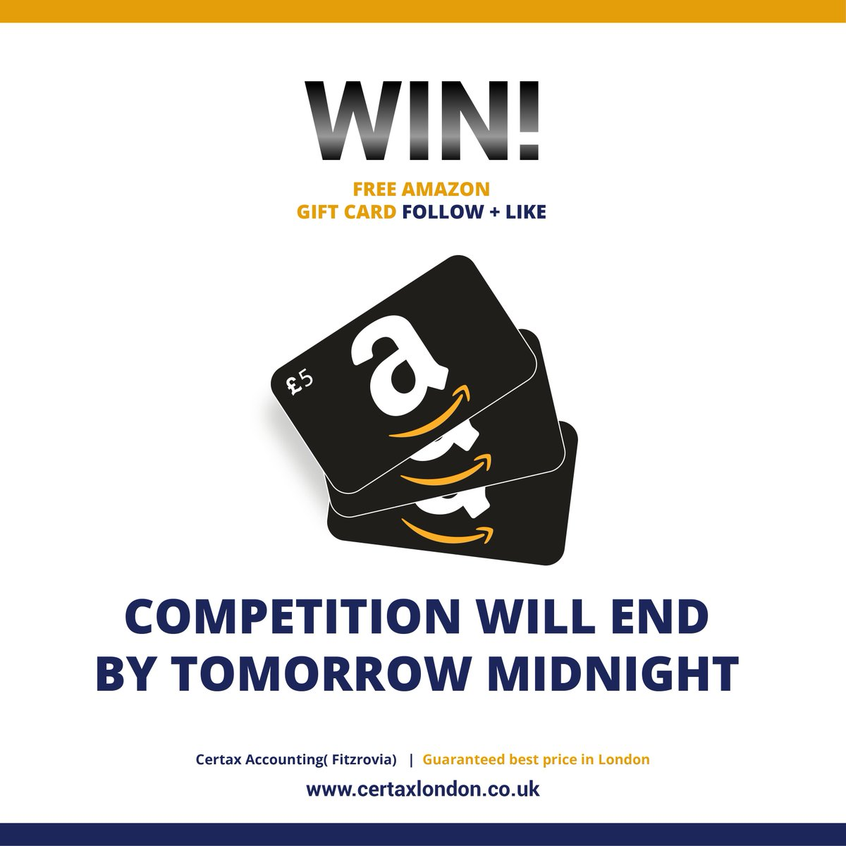 #FreebieFriday #giveaway #win a £5 #AmazonGiveaway #gift card #like + #retweet #follow End 12am 19/11 #prize #Competition #FridayFeeling #ff For Accounting Help Contact us:  https://www. certaxlondon.co.uk/contact-us/  &nbsp;  <br>http://pic.twitter.com/JzXceEht8K