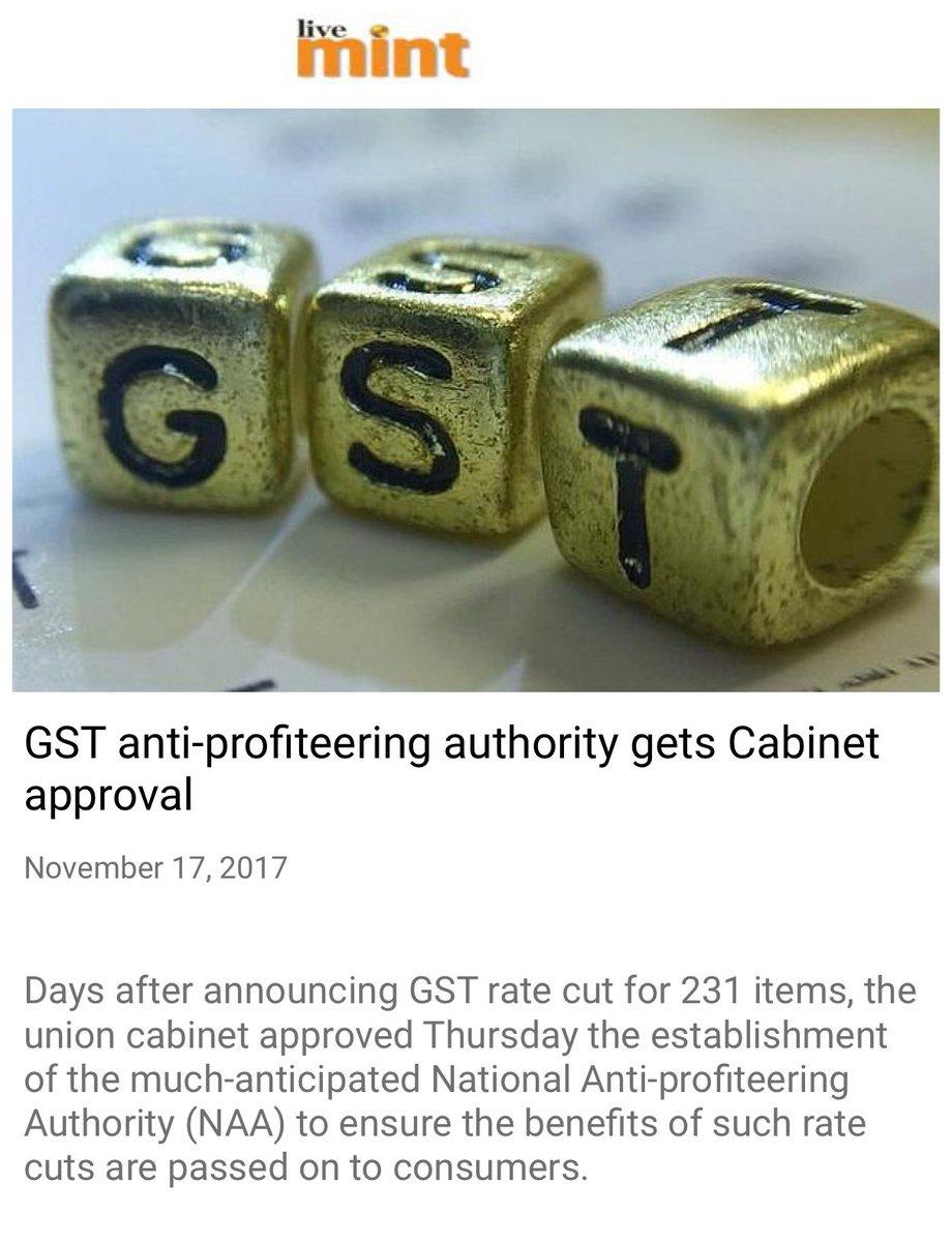 GST anti-profiteering authority gets Cabinet approval.  https://t.co/w2ePB3q0LU  via NMApp https://t.co/gk1wLPuQWS