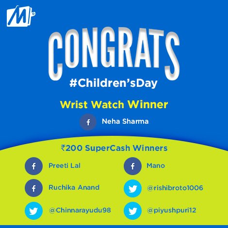 Congratulations to all the winner of #GoodOldDays #ChildrensDay! Please share your details with @MobiKwikSWAT to claim your prize today. #FridayFeeling<br>http://pic.twitter.com/HZskmSloNC
