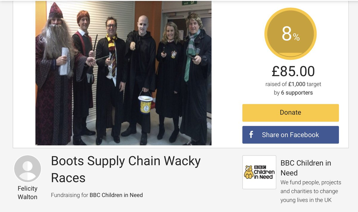 I&#39;ve #justsponsored Felicity Walton, who&#39;s fundraising for BBC Children in Need on @JustGiving. Donate now  https://www. justgiving.com/fundraising/SC LTwackyraces?utm_source=twitter &nbsp; …  Take a look and don&#39;t miss a chance to donate!! #SupplyChain #MoreThanAtoB @BBCCiN @Boots_Jobs<br>http://pic.twitter.com/Pt9n9KOPo2