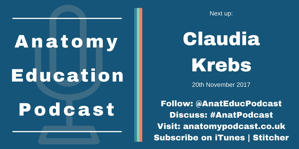 Next up on #AnatPodcast is @krebs_claudia on #AnatEd and teaching #neuroanatomy with #TEL. Listen from Monday... #scicomm #OpenScience <br>http://pic.twitter.com/2uyXgq4UDc