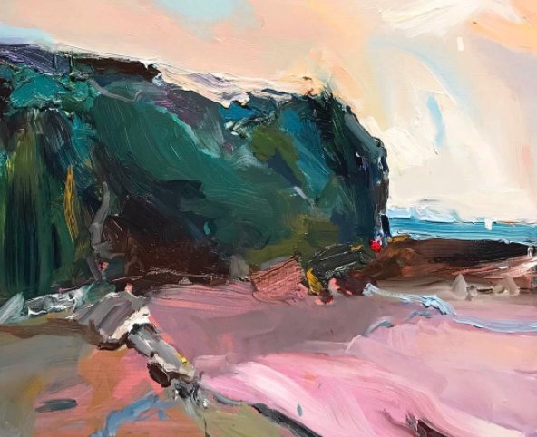 &quot;headland at coledale beach&quot; 35X45cm, oil on board #australian #artist #creative #inspiration #coledale #beach #sydney<br>http://pic.twitter.com/cbQhKMwwTF