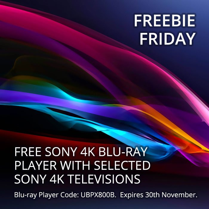 #FreebieFriday #Promotion... #Free Sony UBPX800B 4K Blu-ray Player (worth £400) with selected Sony UltraHD Televisions... Expires 30th November...  http:// bit.ly/2iTnS89  &nbsp;  <br>http://pic.twitter.com/uKJy5zwLNt