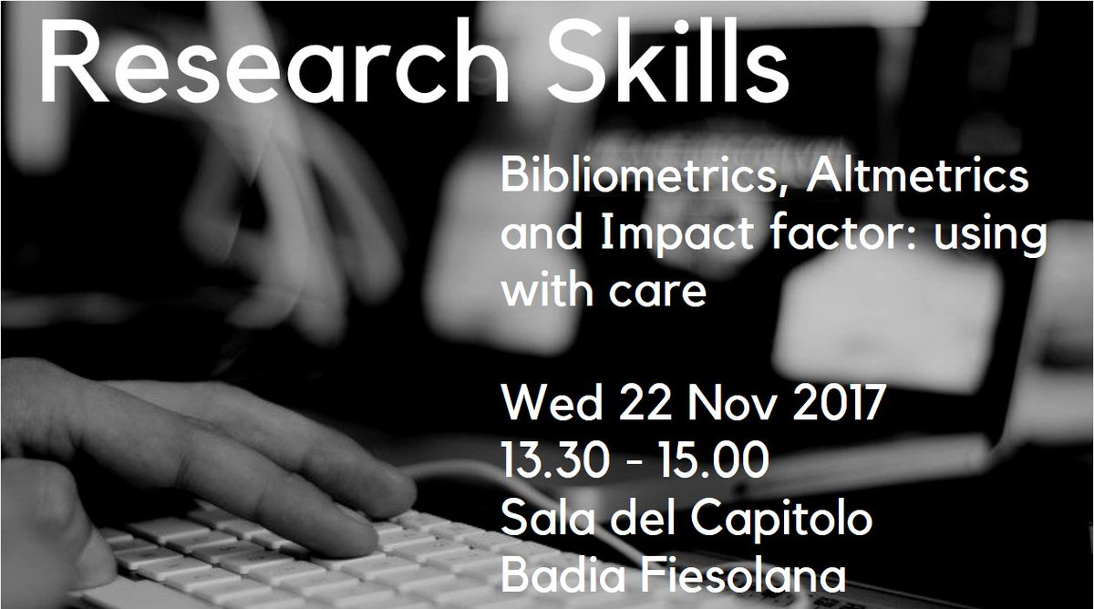 Our next #researchskills session will be about #bibliometrics, #altmetrics and #impactfactor. No need to register, you&#39;re very welcome to come by next Wednesday! #euiresearchskills  https://www. eui.eu/events/detail? eventid=140499 &nbsp; … <br>http://pic.twitter.com/0r1MIKdYnm