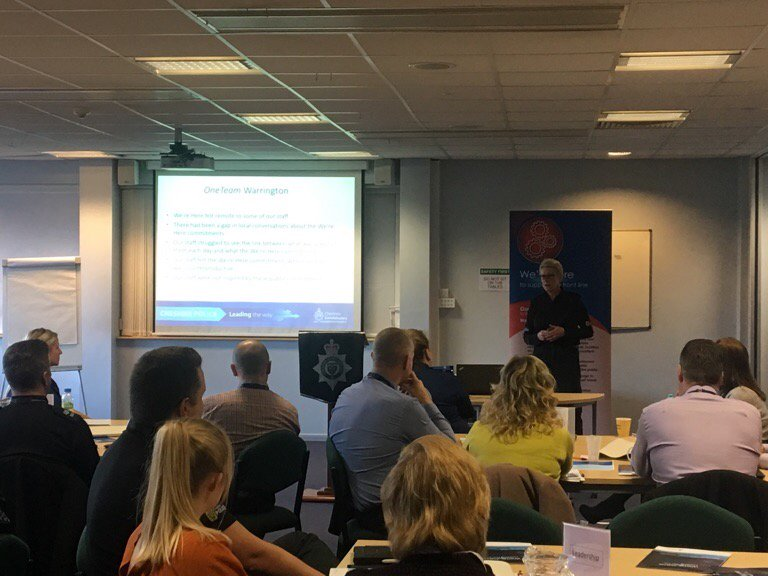 C/I Sarah Pengelly from @policewarr talking through some of the work staff undertake to address the 'We're Here' commitments #leadingtheway <br>http://pic.twitter.com/ozerCDfHfx