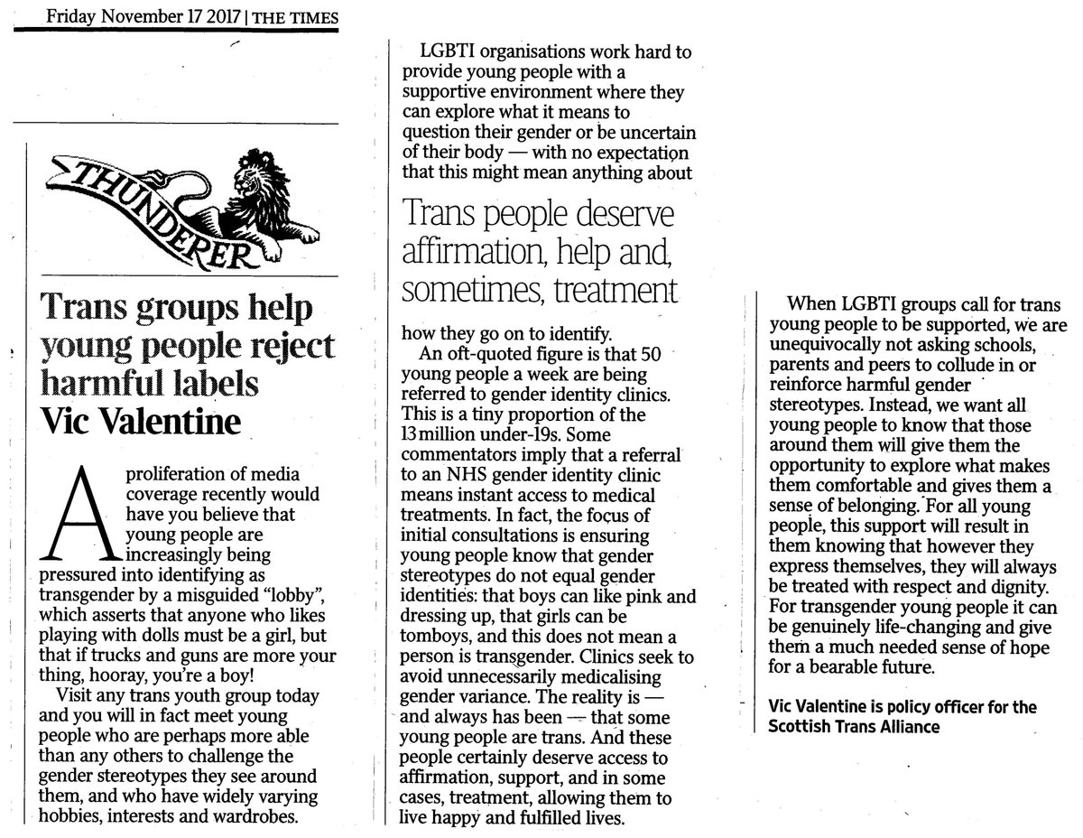 Our Policy Officer Vic has this column in @thetimesscot today supporting #trans young people and dispelling some of the myths we&#39;ve been seeing all too often in the media recently <br>http://pic.twitter.com/XyQLOqCkWY
