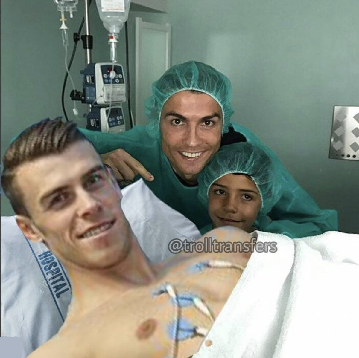 RT @TrollFootball: Ronaldo took his son to visit uncle Gareth Bale in hospital https://t.co/uztOcMeNzg