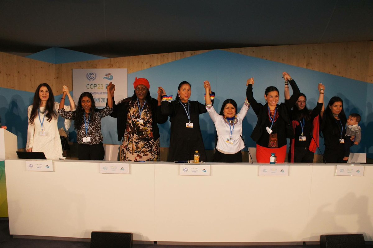 We stand with women globally at #COP23 we may be most impacted by #climatechange but we are also the front lines of solutions to #climatecrisis  Final wrap up press release, next steps coming soon! Stay tuned  #cop23  #women #power #environment<br>http://pic.twitter.com/rth2d8XSzo