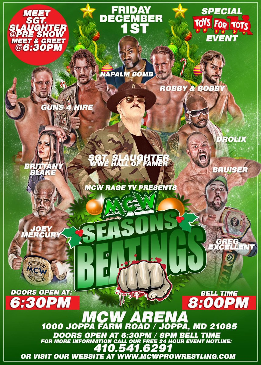 It's time to win #FREE tickets to #MCWSeasonsBeatings feat #WWE Hall of Famer @_SGTSlaughter at the #MCW Arena on Friday 12/1  Simply #RT, Fav &amp; leave a comment to enter   http:// MCWProWrestling.com  &nbsp;  <br>http://pic.twitter.com/2jcKEkV6F4