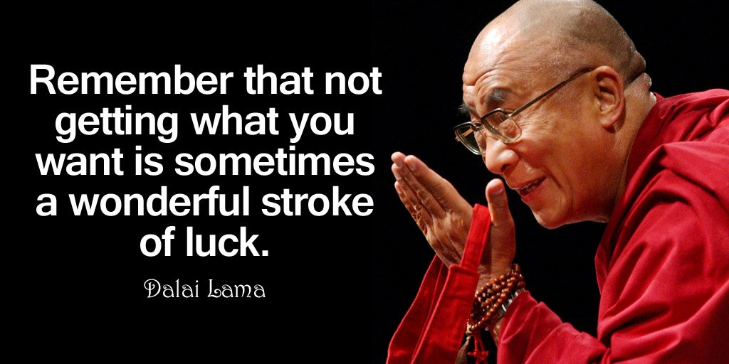 Remember that not getting what you want is sometimes a wonderful stroke of luck. - Dalai Lama #quote <br>http://pic.twitter.com/wXdwX3wVlN