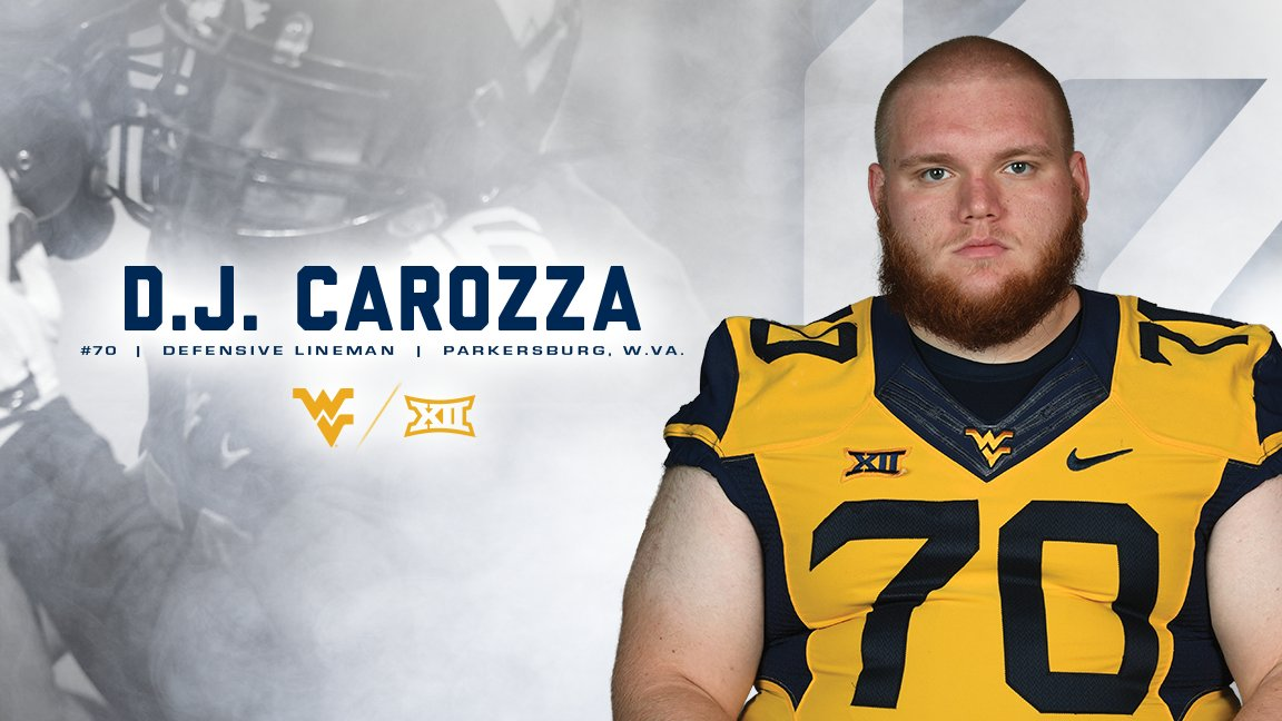 Thank you D.J. Carozza! D.J. has spent five years as a part of the Mountaineer football program. He will graduate with a master's degree in December 2017 in integrated marketing communications and is a member of the Academic All-Big 12 team. #SeniorDay17