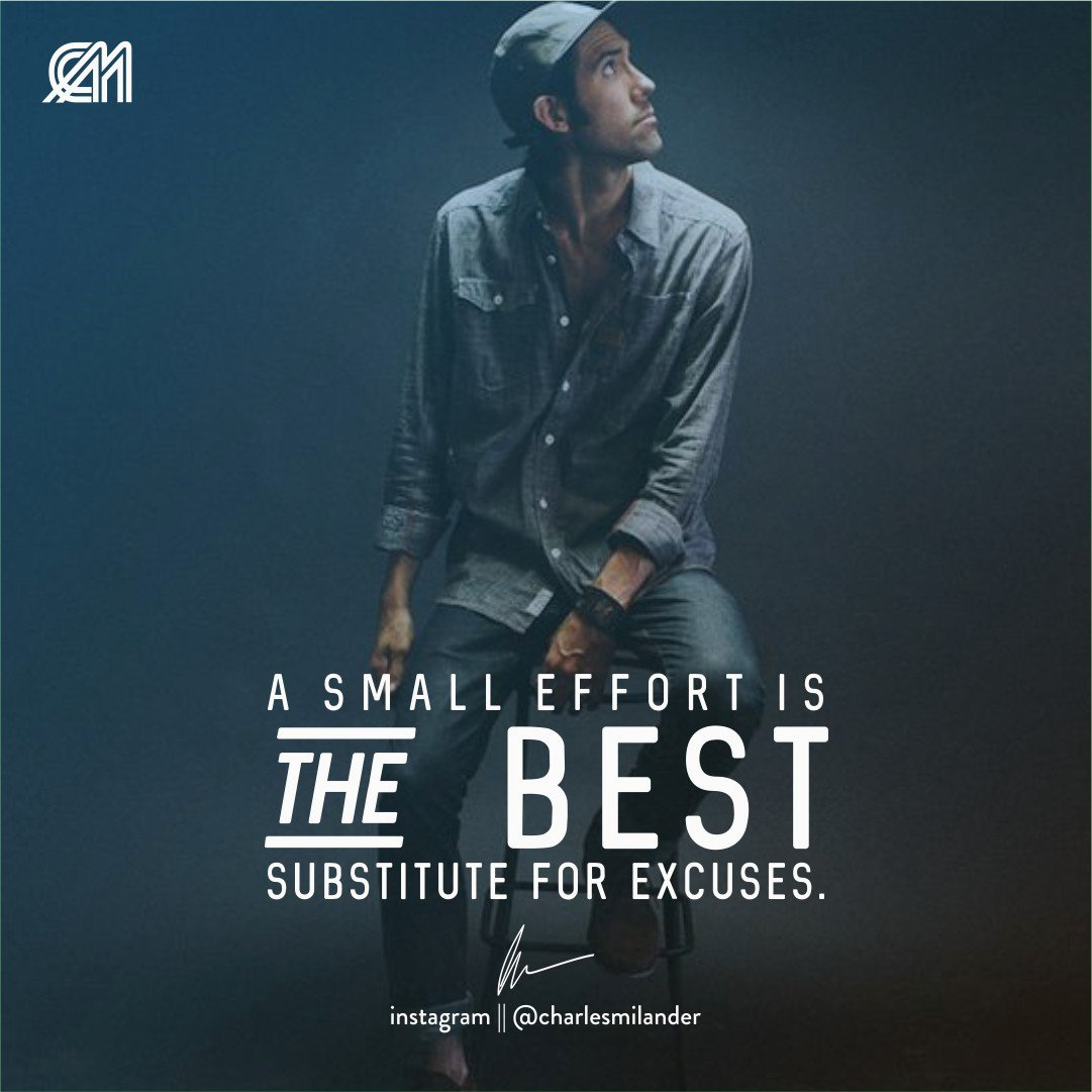 A small effort is the best substitute for excuses. #charlesmilander #boss #business #quote #quotes #fashion #entrepreneurship #motivation #inspiration #goals #luxury #dreams #lifestyle #success #instaquote #money #newyork #nyc #work #working #passion #hardwork #happiness<br>http://pic.twitter.com/WqW2PtbqVS