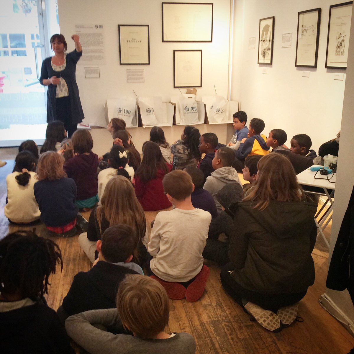 'Kids in Museums Takeover day' children have arrived! Sitting patiently right now before they start being curators!