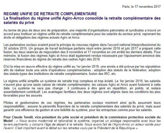 Medef On Twitter Communique La Finalisation Du Regime Unifie