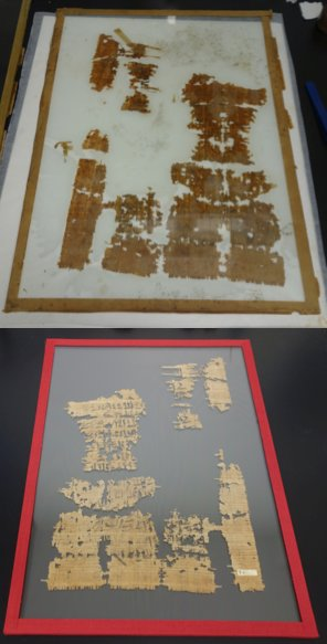 A papyrus document, before and after conservation @PetrieMuseEgypt #papyrus4people #papyrus #manuscript #conservation <br>http://pic.twitter.com/52OD62IFQP