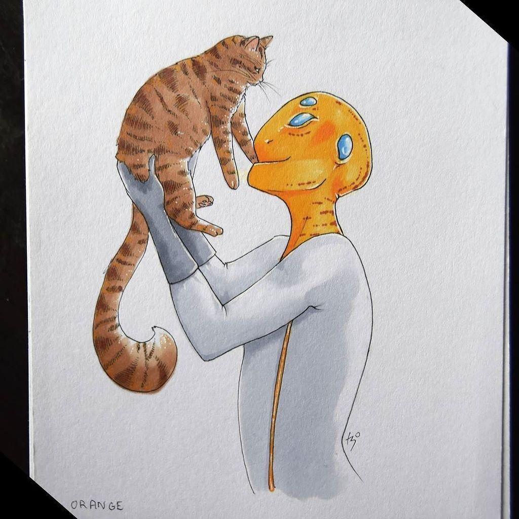 &quot;Friends? &quot; Hadn&#39;t realised I&#39;d forgotten to post the finished version! | #firstcontact #friends #alien #cat #happy #stripes #orange #drawing #drawtober #art #artsagram #scifi #tabby #tabbycat #catsofinstagram  http:// ift.tt/2hGxFSc  &nbsp;  <br>http://pic.twitter.com/OkiExk1hEb