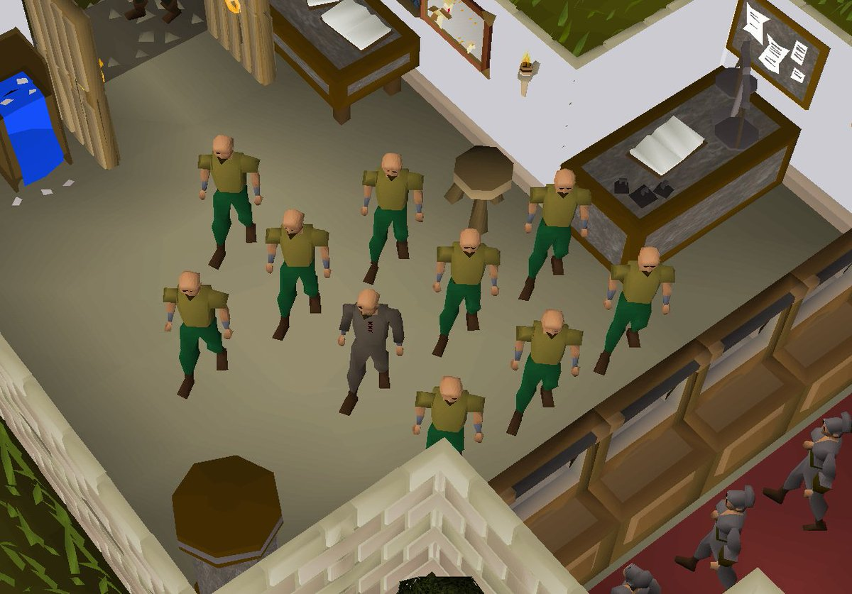 World 308 Fally West bank. A pileup of 42 clones. @OldSchoolRS @JagexArchie @JagexAsh @JagexMatK #OSRS #AttackOfTheClones #Bots<br>http://pic.twitter.com/3Ydt8KaYd1