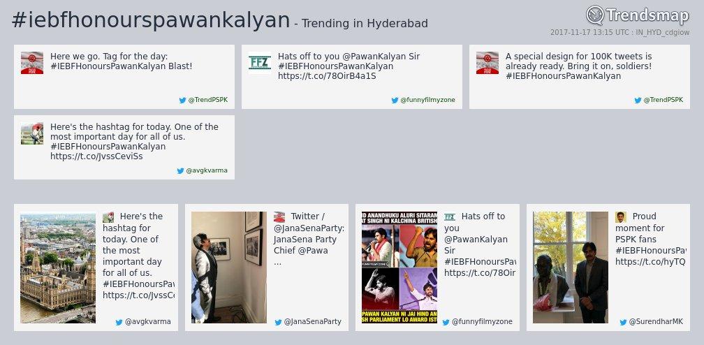 #iebfhonourspawankalyan is now trending in #Hyderabad   https://www. trendsmap.com/r/IN_HYD_cdgiow  &nbsp;  <br>http://pic.twitter.com/h6Jh0Mzi7V