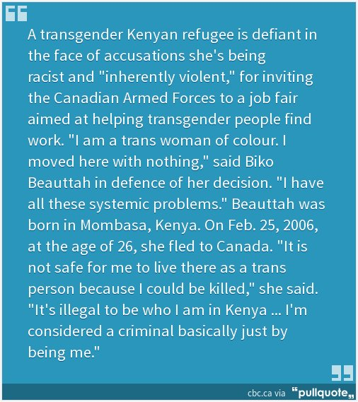 #Toronto: #Transgender refugee defies #Queer leftist critics by inviting military recruiters to a #trans job fair  http:// pllqt.it/QEaxGa  &nbsp;   #cdnpoli #topoli #CityofTO #TONews #PrideTO #Canqueer #HalifaxPride #ottpride #YYCPride #BLMTO #StartProud @PrideatWorkCAN @OutonBaySt<br>http://pic.twitter.com/aYCn2KrjNK