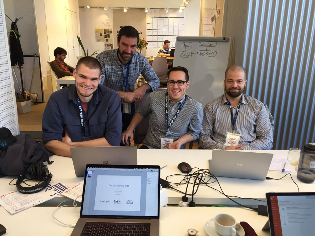 Final sprint for @MEOPAR_NCE @OceanTracking @OGSL_SLGO team ! They are about to pitch their product #OpenSeaLab2017 @OpenSeaLab @EMODnet #coding #oceanscience #Programming #windfarm #OpenData <br>http://pic.twitter.com/1WTD2oQt7J