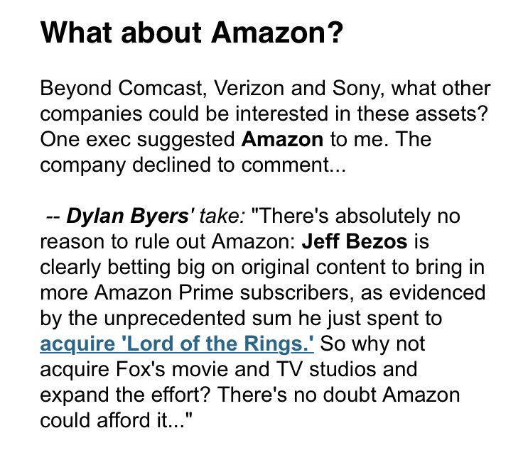 Folks, do not rule out Amazon as a potential buyer of 21st Century Fox...  https://t.co/k35eZrTYvR