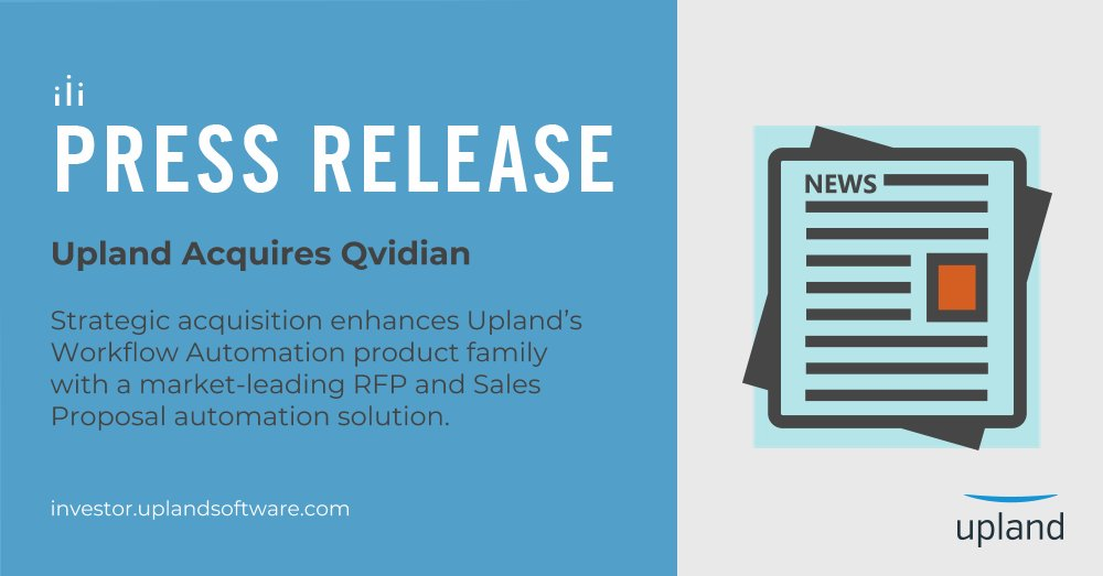 UplandSoftware acquires @Qvidian, a market-leading provider of cloud-based RFP and Sales Proposal automation software. #RFP #proposal $UPLD  http:// bit.ly/UplandAcquires Qvidian &nbsp; … <br>http://pic.twitter.com/EDZvOKU65K