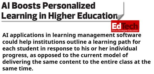 #AI Boosts #Personalized #Learning in #Higher #Education  https:// goo.gl/o6Yzny  &nbsp;   #edtech #elearning #mlearning #EdApps #eLearningEnvironment #highered<br>http://pic.twitter.com/UPS3ABFXtk